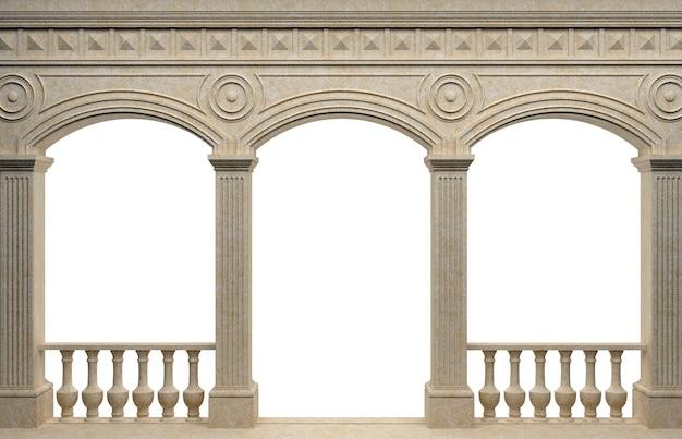 3dイラスト。大理石のアンティークの壁のアーケード。背景バナー。ポスター。古代世界の建築。