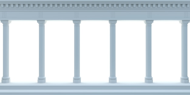 3d illustration. marble antique wall blue arcade. background banner.