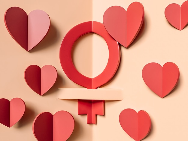 3d illustration, march 8. international women day concept.