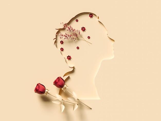 3dイラスト。ペーパーカットの女性の顔で3月8日。女性の日のコンセプト。