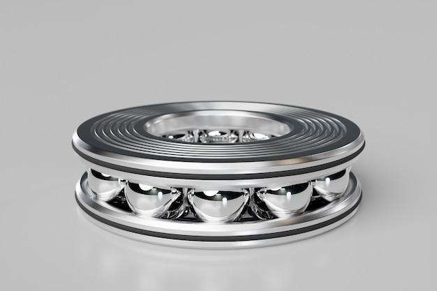 3d 그림 금속 은색 볼 베어링은 회색으로 분리된 배경에 볼이 있습니다. 베어링 산업. 자동차의 이 부분