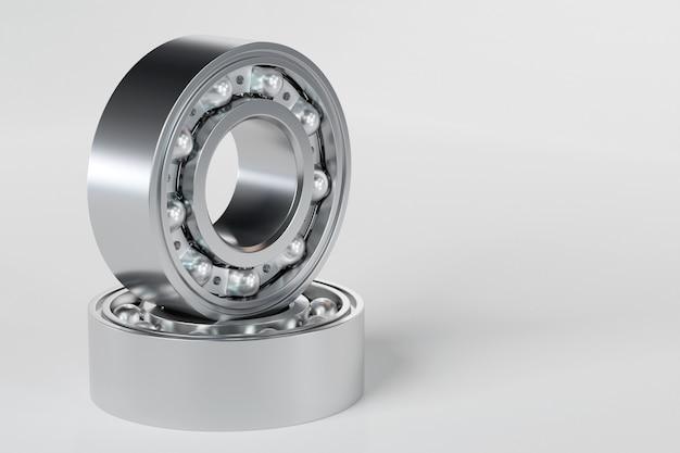 3d 그림 금속 실버 볼 베어링 흰색 격리 된 배경에 공. 베어링 산업. 자동차의 이 부분