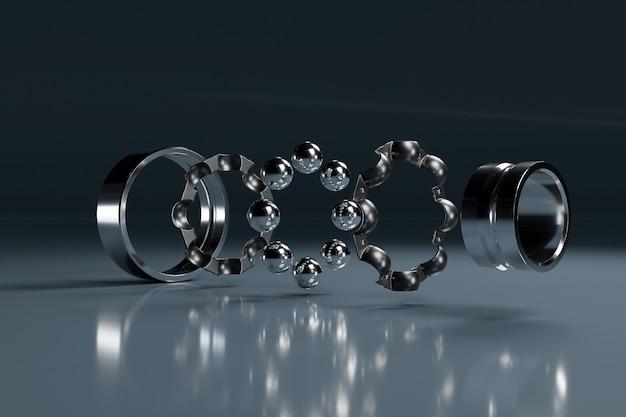 3d иллюстрации металл серебро разобранный шарикоподшипник с шариками на белом изолированном фоне. подшипник промышленный. часть машины