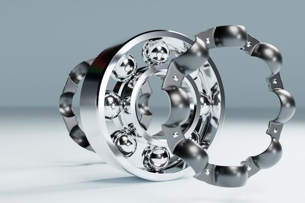 3dイラスト金属銀分解ボールベアリングと白い孤立した背景にボール。ベアリング産業。車の一部