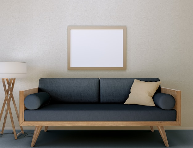 3d illustration. mockup of a blank poster frame hanging on the wall in a modern living room.
