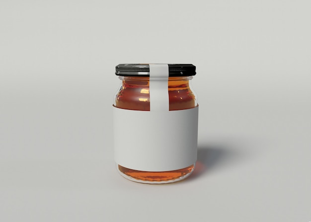 3d illustration. mockup of a jam jar with a blank label on isolated white background. packaging concept.