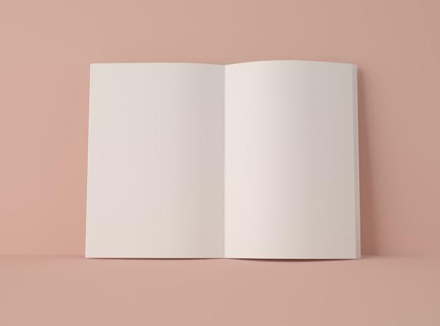 3d 일러스트 레이 션. 빈 페이지와 함께 펼친 책의 모형입니다.