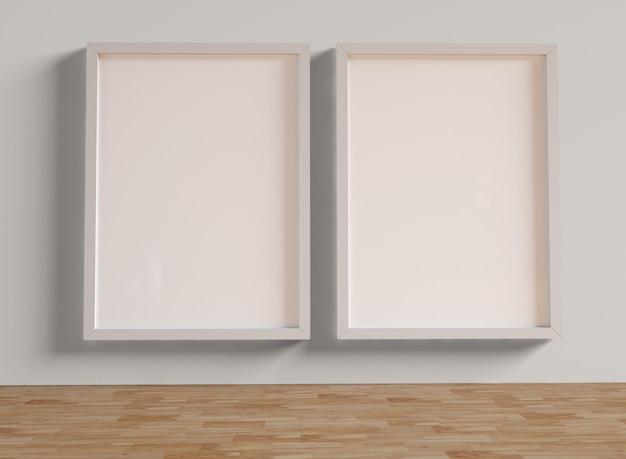 3d illustration. mockup of photo frames.