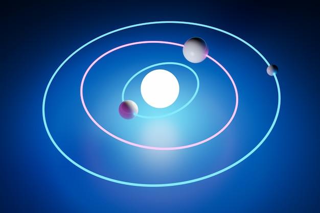 3d модель солнечной системы с орбитами вокруг орбит вокруг солнца на синем