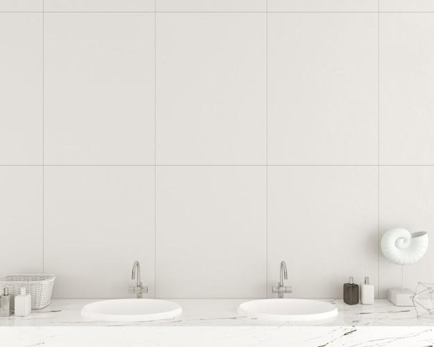 3dイラスト。白いタイルで作られたモダンなバスルームの壁。洗面台