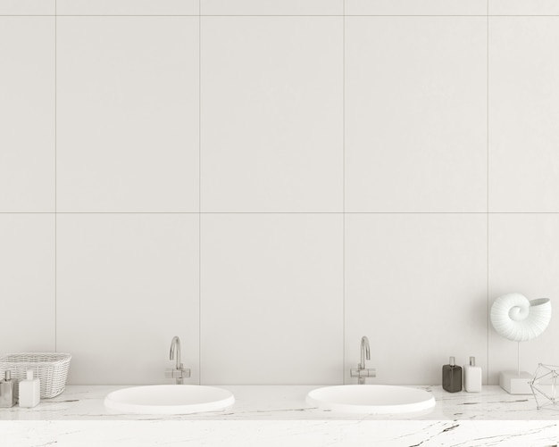 3d illustration. modern bathroom wall made of white tiles. washbasins