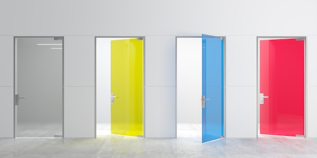 3d illustration. modern four glass multicolored doors on wall glass doors in the hall or corridor. background interior. public building. office cabinets, locker rooms