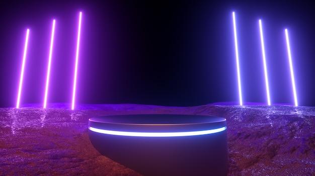 3d 그림. 현대 미래의 빛나는 네온 불빛과 연단.