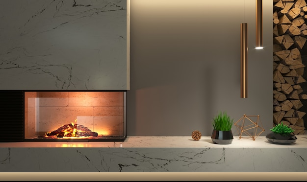 3d иллюстрации. современный стеклянный угловой камин в интерьере в стиле минимализм или лофт. отопительная техника