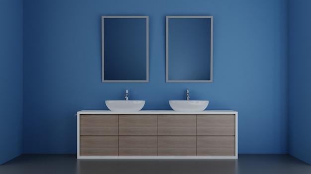 3d illustration modern interior design bathroom with blue walls. 3d illustration.