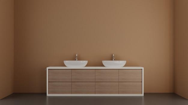 Ванная комната дизайна интерьера иллюстрации 3d современная с голубыми стенами. 3d иллюстрации.