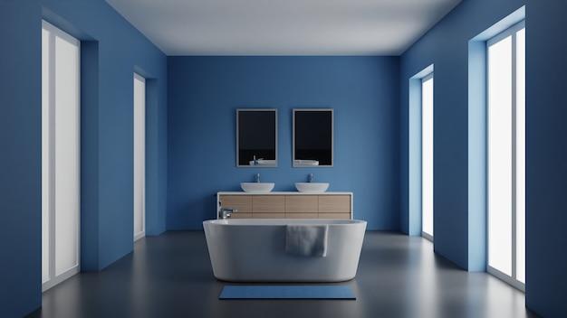 3d illustration modern interior design bathroom with blue walls and stylish large bath. 3d illustration.