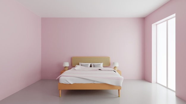 3d illustration modern interior design. beautiful bedroom with pink walls and stylish large bed. 3d illustration.