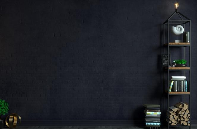 3dイラスト。ロフトスタイルの背景の古いレンガの壁のモダンなインテリア。家具や棚。本棚。創造性のためのスタジオ