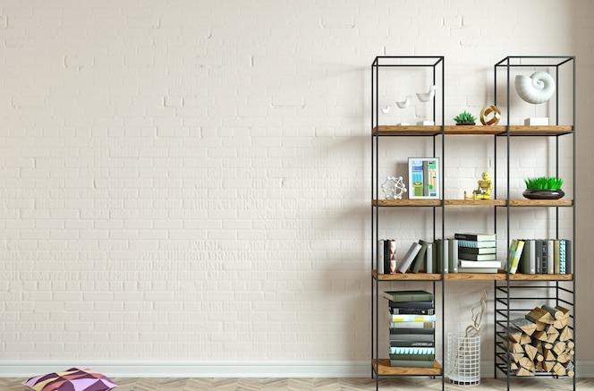 3dイラスト。ロフトスタイルの背景の古い壁のモダンなインテリア。家具や棚。本棚。創造性のためのスタジオ