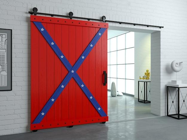 3dイラスト。ロフトルームの木製ドアをスライドさせるロフトスタイルの納屋のモダンなインテリア。スタジオ