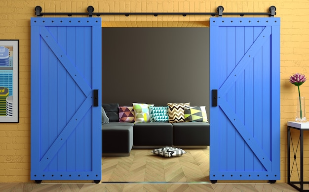 3d 그림. 로프트 룸에서 나무로되는 문을 슬라이딩 로프트 스타일 헛간에 현대적인 인테리어. 사진관