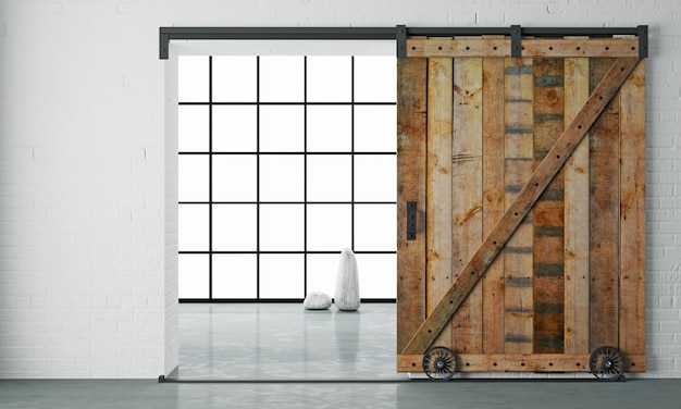 3dイラスト。ロフトルームの木製ドアをスライドさせるロフトスタイルの納屋のモダンなインテリア。