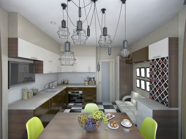 3d illustration of modern kitchen in brown and beige tones