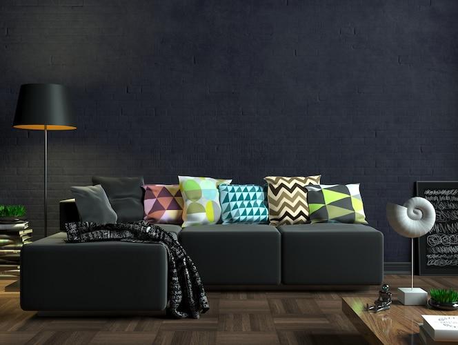 3dイラスト。黒いソファのあるモダンなリビングルーム。壁に白い空白の絵。ポスターのモックアップ。