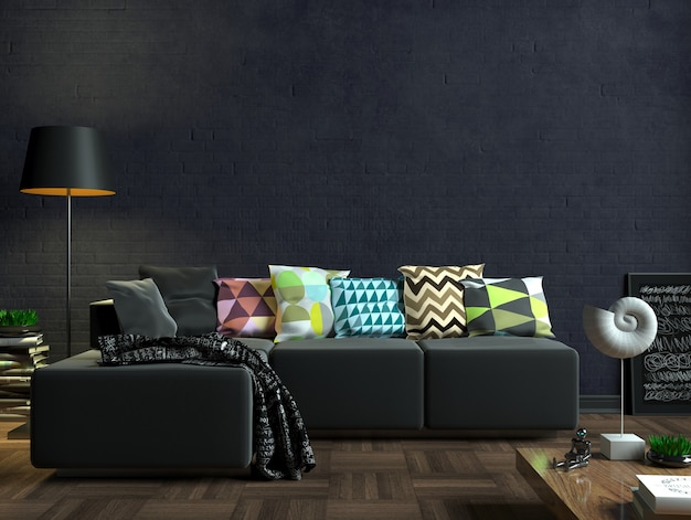 3d illustration. modern living room with black sofa. white blank painting on the wall. mock up poster.