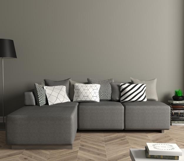 3d 그림. 흰색 소파가있는 현대 거실. 벽에 흰색 빈 그림입니다. 포스터를 모의하십시오.