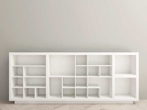 3d иллюстрации. современный шкаф или пустые полки с нишами в стиле минимализм. интерьер белой комнаты магазина. мебель и освещение. фон для баннера