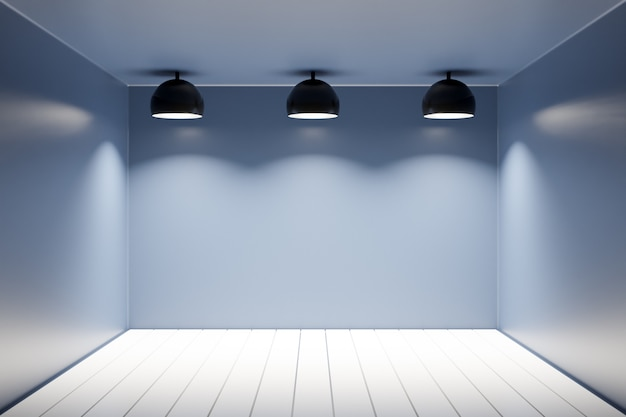 3d illustration of a monochrome black apartment with a wooden floor, plain walls and three identical lamps.