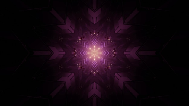 3d illustration of multifaceted star shaped pattern with purple lights in dark tunnel as abstract background