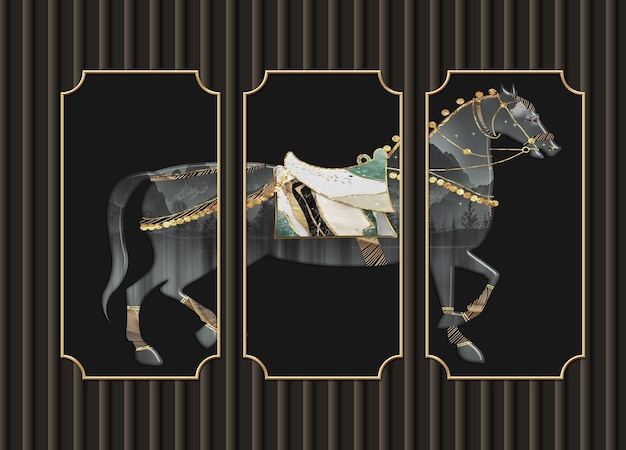 3d иллюстрации настенные обои черный фон и лошадь в рамах для стены дома декоративные