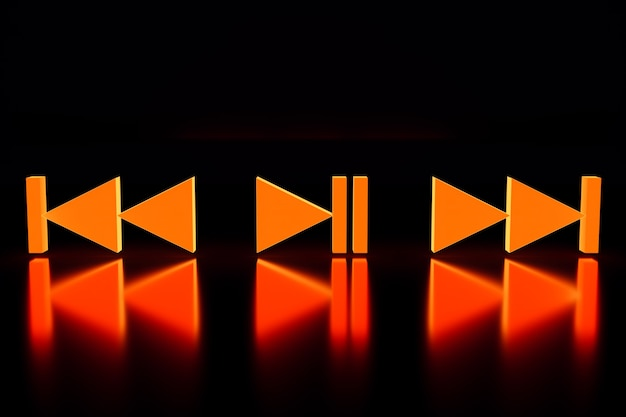 3d illustration of music switch button: start, next and previous song on black isolated background
