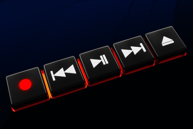 3d illustration of music switch button: start, next and previous song, stop and record on black isolated background
