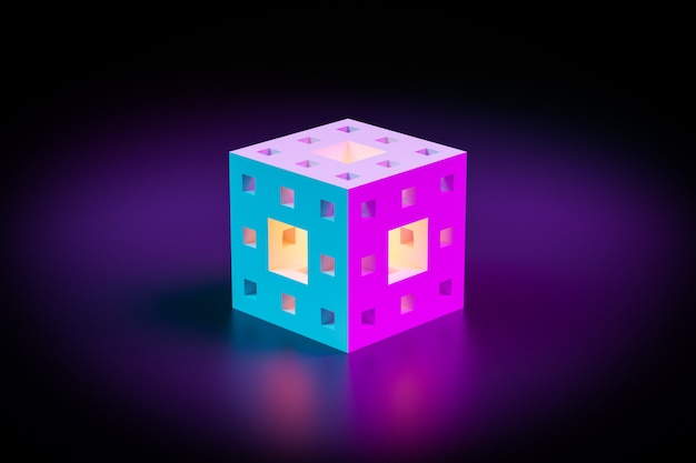 3d illustration of a neon cube with various luminous windows shining brightly in a dark room. cyber shape in virtual reality. futuristic home concept