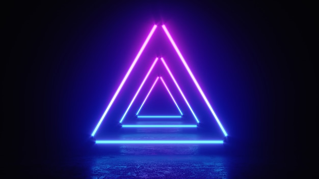 3d illustration of neon glowing triangle lines
