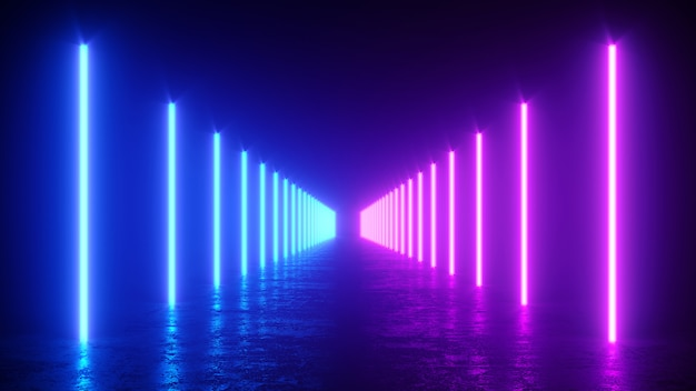 3d illustration of neon glowing vertical lines