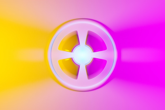 3d illustration of a neon pink and yellow ball  shines its rays in different directions on light background .