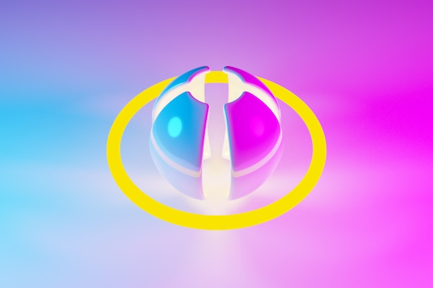 3d illustration of a neon pink and yellow ball with petals and oribt shines its rays in different directions on light background