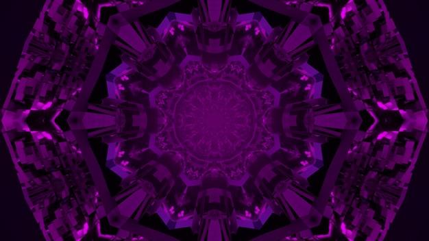 3d illustration on neon purple symmetric abstract kaleidoscope pattern in darkness as background