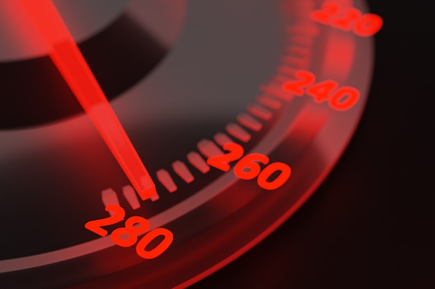 3dイラスト新車内装詳細。スピードメーターは時速280km、タコメーターは赤いバックライト付きです。 ãâ¡黒い車のパネル、デジタル明るいスピードメーターを失う
