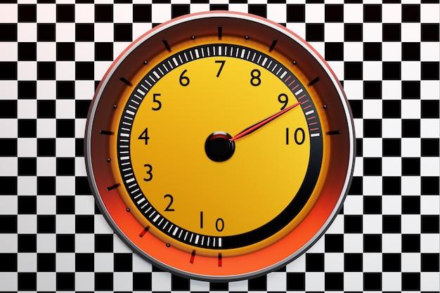 3d иллюстрации новые детали интерьера автомобиля. желтый тахометр с подсветкой показывает максимальное количество оборотов. ð крупным планом черная панель автомобиля, яркий цифровой тахометр в спортивном стиле.