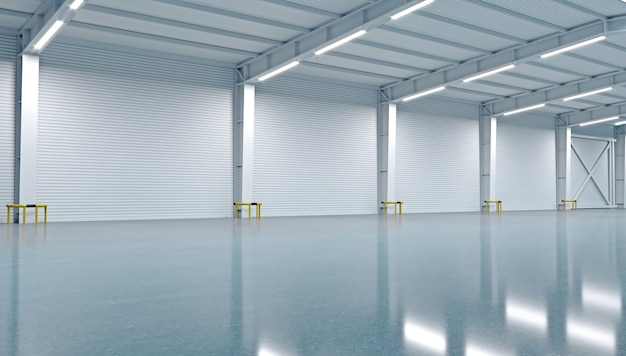 3d illustration. new empty warehouse or factory.