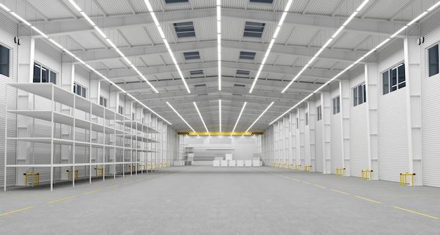 3 dイラスト。新しい空の倉庫または工場。