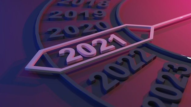 3d illustration of new year 2021