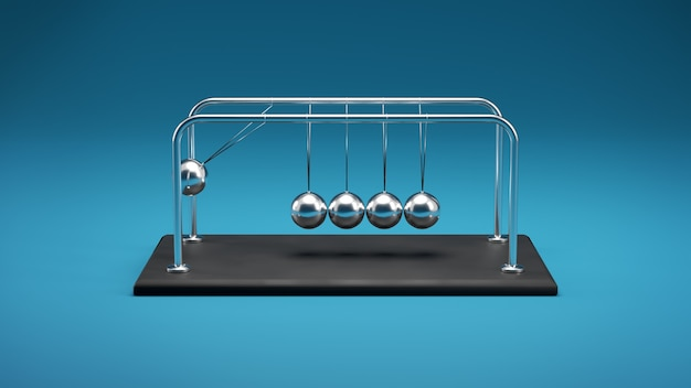 3d illustration of a newton's cradle, chrome metal spheres with reflections in colliding movement