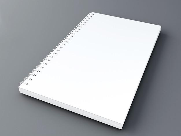 3d 일러스트 레이 션. 깨끗 한 흰색 빈 노트북 이랑입니다. 개념을 조롱하십시오.